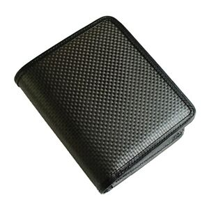 Carfibe Men S Japan Made Leather Wallet Carbon Fiber Purse Card Coin