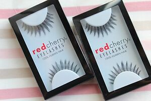 2x-Red-Cherry-PADDINGTON-42-falsche-Echthaar-Wimpern-Wimpernverlaengerung