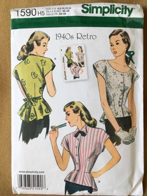 19d2e2b7f2d0 Simplicity Pattern 1590 Misses 1940 s Retro Blouse Top Shirt With Peplum Sz  ...