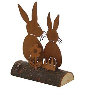 97b2bf8098 Das Bild wird geladen  dekorative-putzige-Osterdeko-Hasenpaar-sitzend-auf-Holzstamm-Metall-