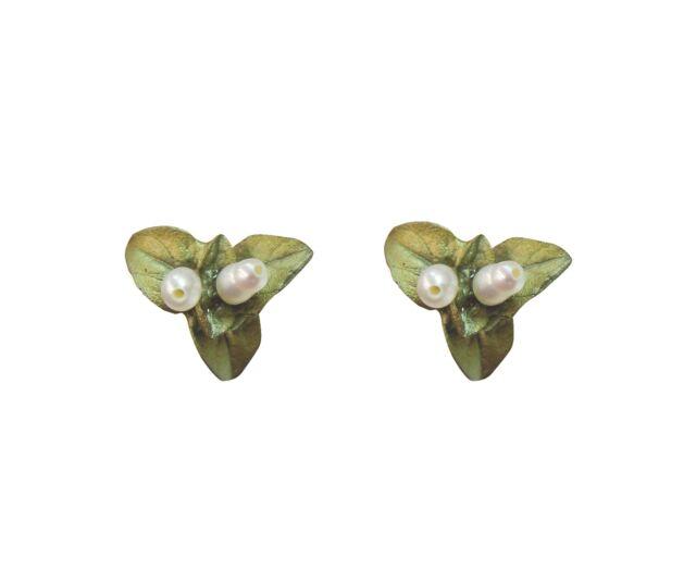 Sweet Basil Pearl Post Earrings  by Michael Michaud, Silver Seasons #3088BZWP