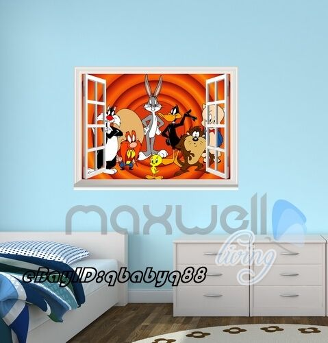 Looney Tunes Character 3D Window Wall Decals Art Removable Stickers Kids Decor