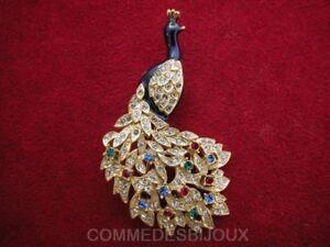 """Broche """"paon Majestueux"""" N° 1 Traîne Foison Multicolore - Bijoux Pur Bestiaire"""