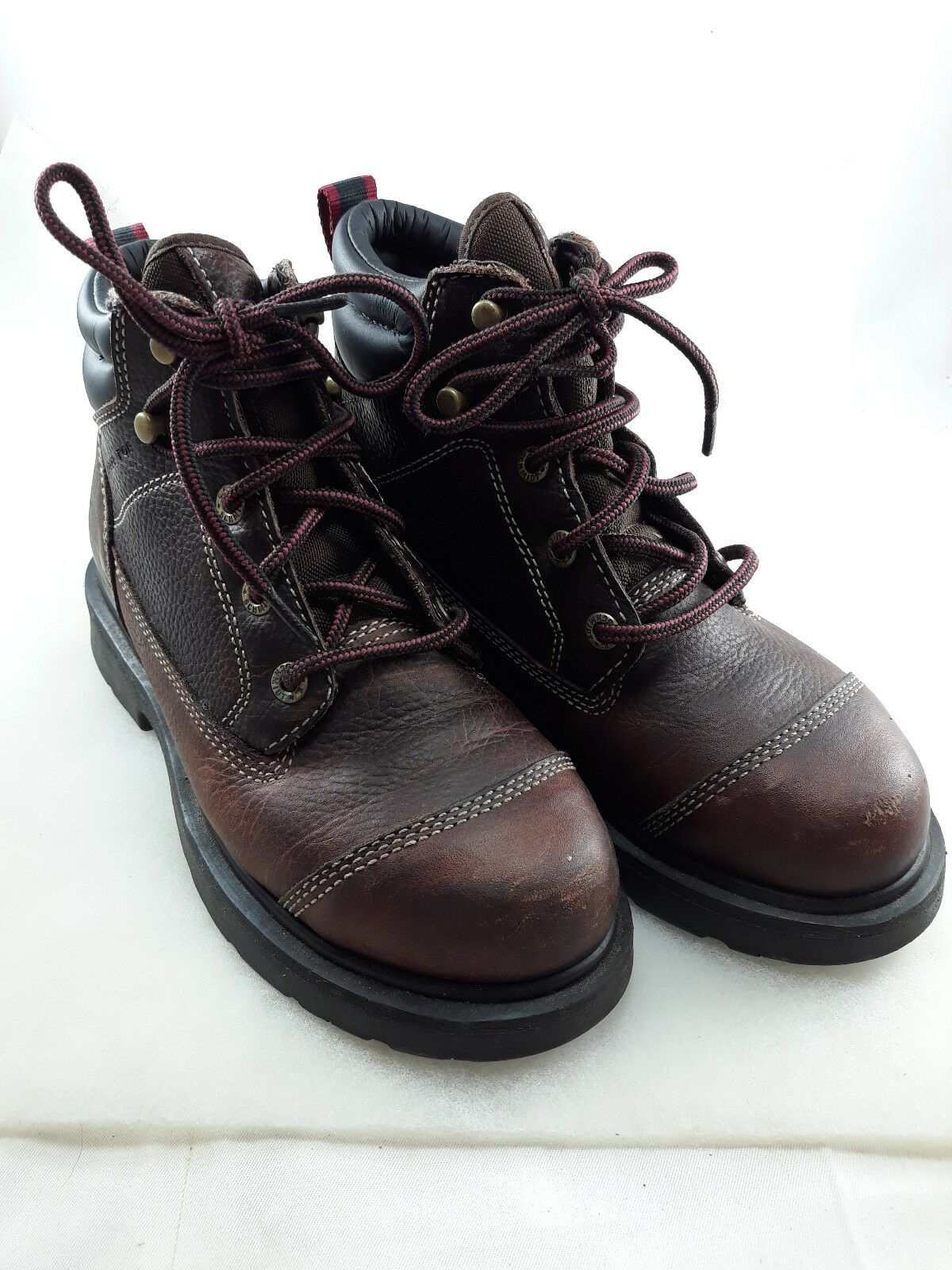 Schmidt Steel Toe Leather Safety Ankle Laceup Boots Women USA Sz 6M Brown Preown