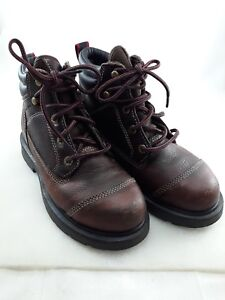 956a41703e2 Details about Schmidt Steel Toe Leather Safety Ankle Laceup Boots Women USA  Sz 6M Brown Preown
