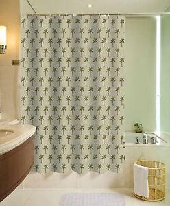 13pc Palm Tree Sage Printed Design Bathroom Fabric Shower Curtain