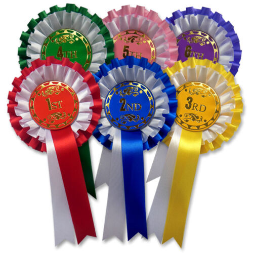 F2 two tier award rosettes Dog show rosettes 1st 6th Place Rosettes
