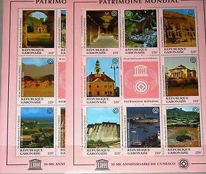 GABON-GABUN-1997-Klb-1347-62-852-53-50th-Ann-UNESCO-Welterbe-Historical-Monument