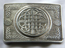 KILT BELT BUCKLE SOLID PEWTER CELTIC KNOT DESIGN MADE IN THE UK KILTWEAR KILTS