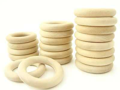 Natural Eco Toy Wooden Rings - Set Of 20 Organic Teething Rings - 2 1/3in. 60mm. Superior Materials