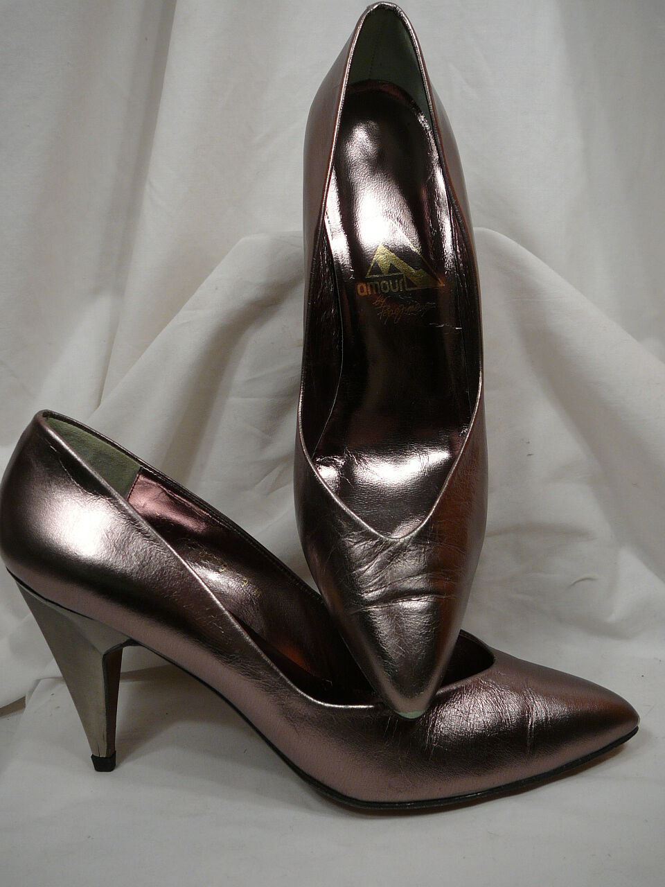 USED Pepe Jimenez Amour Pewter Leather Stiletto Heels 9M MADE IN SPAIN