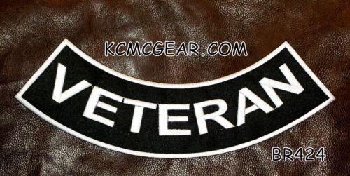 """VETERAN Black on White Back Patch Bottom Rocker for Biker Veteran Vest 10/"""""""