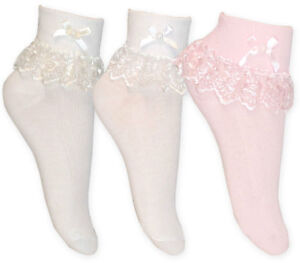 GIRLS WHITE FRILLY LACE SOCKS SIZE 3-5.5  1-2 YEARS
