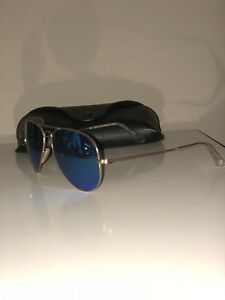 0557bfc950 Ray-Ban Polarized Aviator Blue Mirror Flash Lens Gold Frame RB3025 ...