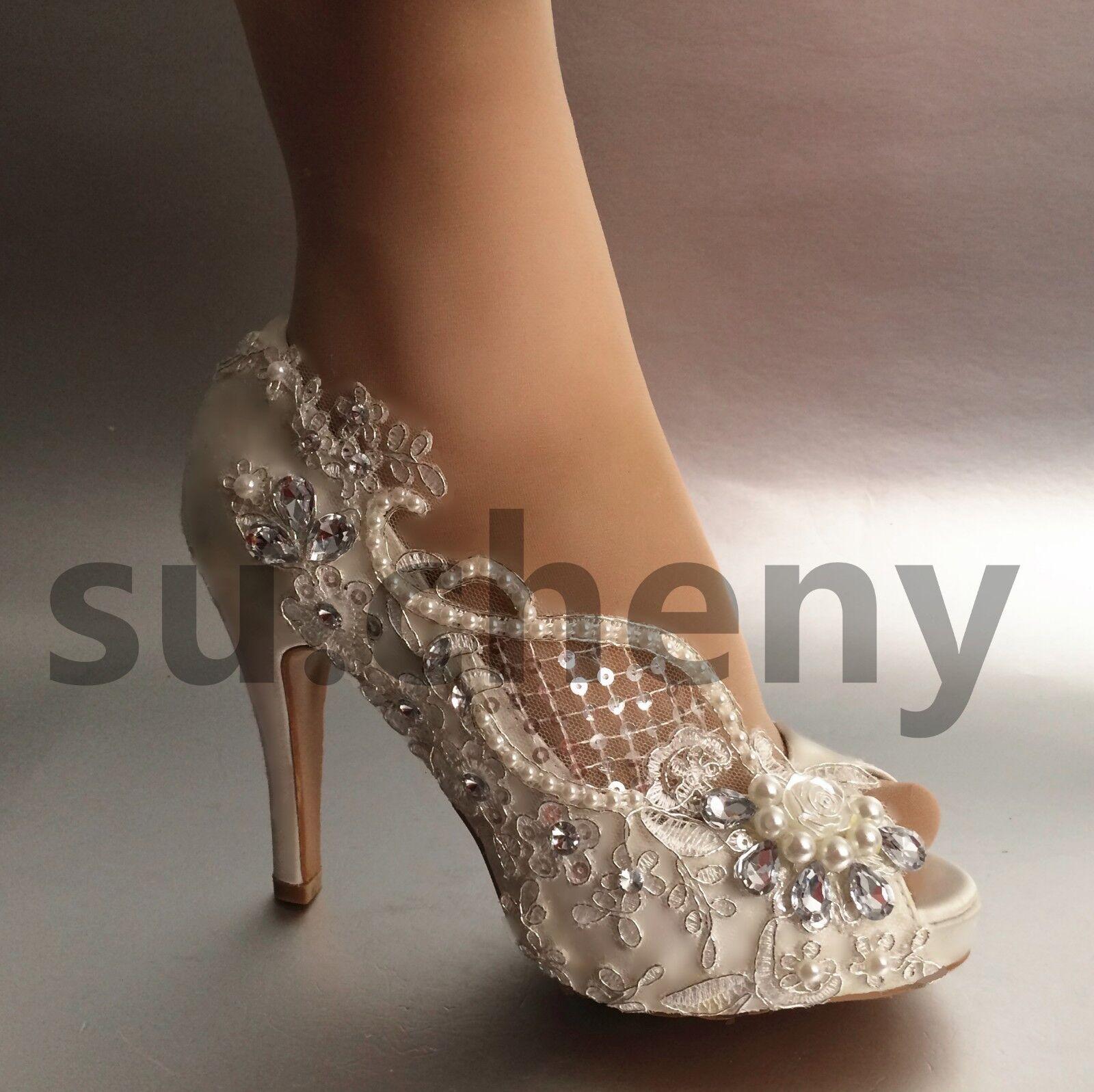 """3"""" 4"""" heel crystal WEISS ivory silk lace open toe Wedding schuhe Bride Größe 5-11"""