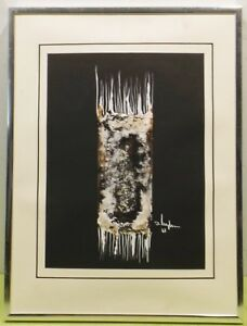 """"""" Composition Abstraite Vert """" Acrylique/technique Mixte Unl. Signé Dat.87 En CoûT ModéRé"""