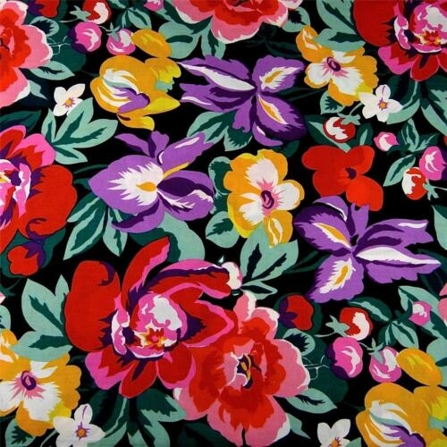 An Alexander Henry Print Brilliant Multicolor Flowers on Black 100/% Cotton BTY