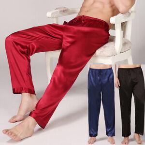 Mens Satin Sleep Bottoms Pants Loose Lounge Soft Silk Pajamas Lightweight Sleepwear