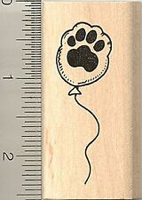 Paw print balloon rubber stamp D9404 WM paw-ty! dog cat