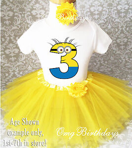 Image Is Loading Yellow Minion Girl 3rd Third Birthday Tutu Outfit
