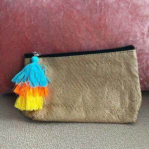 Nordstrom-Summer-Makeup-Bag-Case-Multi-Colored-Tassle-for-Zipper-Pull-New