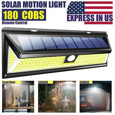 180COB LED w// Remote Control Solar Wall Lamp Outdoor Light Garden Motion Sensor