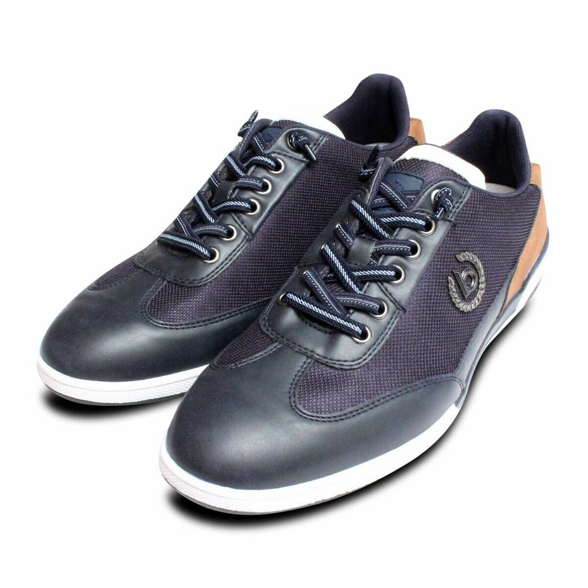 Bugatti Designer Navy Blue Trainers with Tan Suede