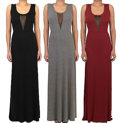 Ladies Club Party Black Mesh Insert Panel Long Maxi Dress UK size 6-24