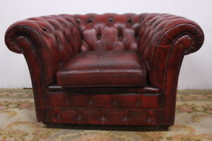 CHESTERFIELD POLTRONA CLUB CHESTER IN PELLE BORDEAUX / INGLESE ORIGINAL MADE UK