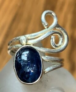 Modern-Art-3ct-Kyanite-925-Solid-Sterling-Silver-Feather-Shaped-Ring-Sz-7