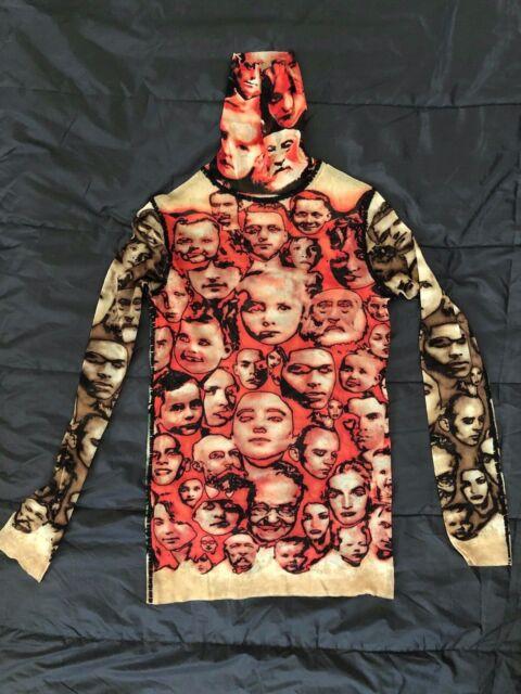 vintage Jean Paul GAULTIER sheer mesh printed top blouse cardigan S