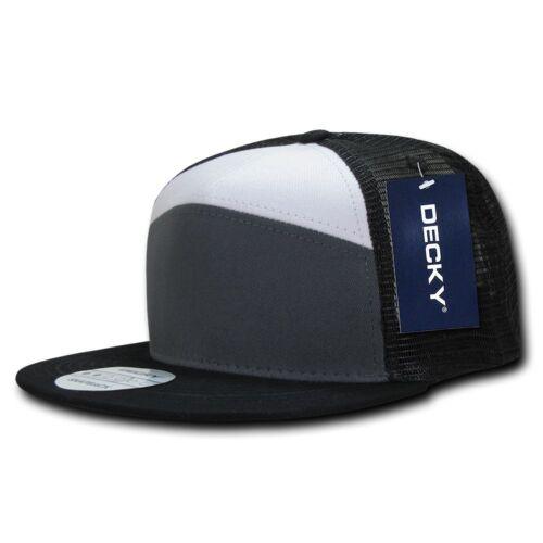 DECKY Flat Bill Baseball 7 Panel Trucker Real Mesh Caps Hats Unisex
