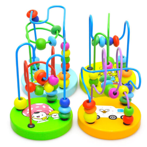 Children Kids Colorful Wooden Mini Around Beads Maze Educational Game Toy Gift