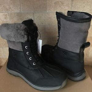 Details about UGG Adirondack III Black Grey Waterproof Leather Snow Boots Size US 9.5 Womens