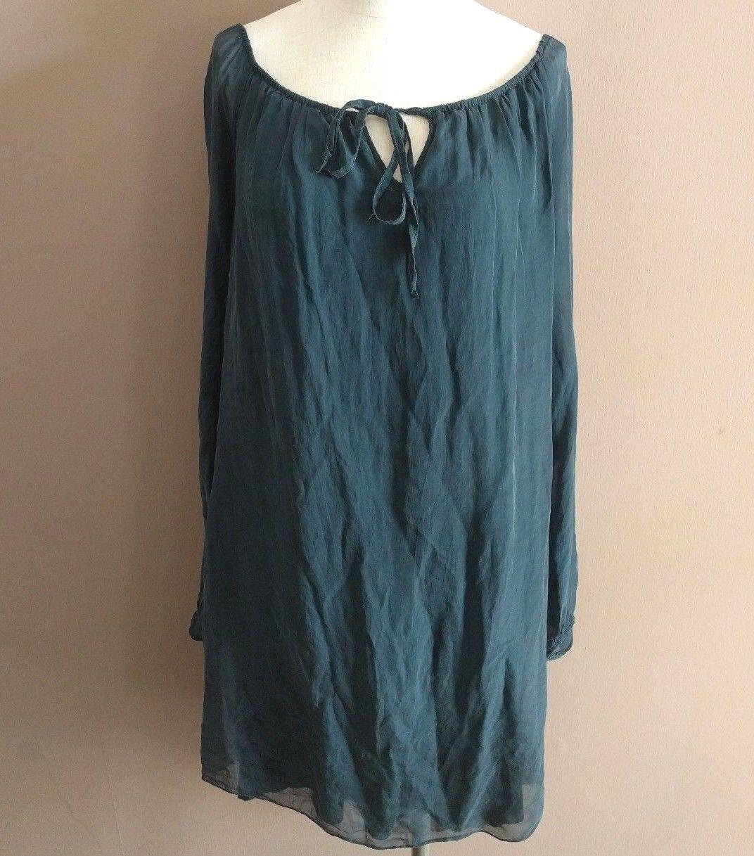 Sofia  Womens One Size Jade Green 100% Silk Shift Dress Sheer Sleeve Bateau