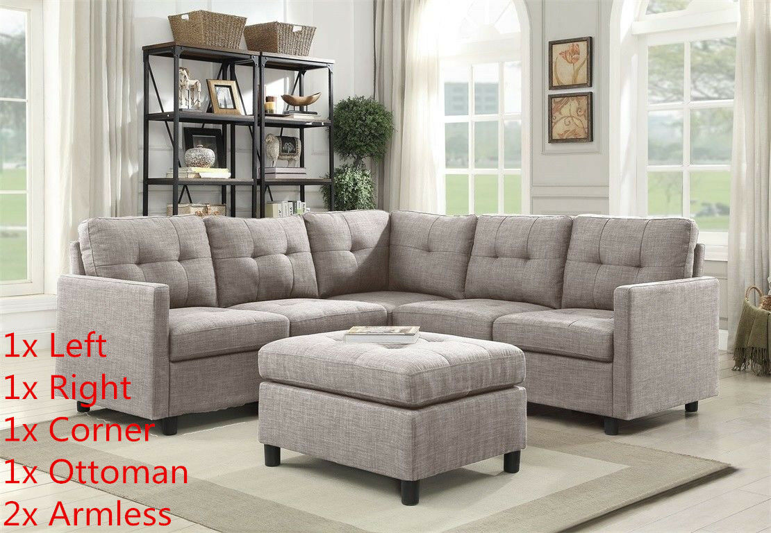 Brilliant Grey Linen L Shape Reversible Chaise Sectional Modern Sofa Set Couch Microsuede Lamtechconsult Wood Chair Design Ideas Lamtechconsultcom