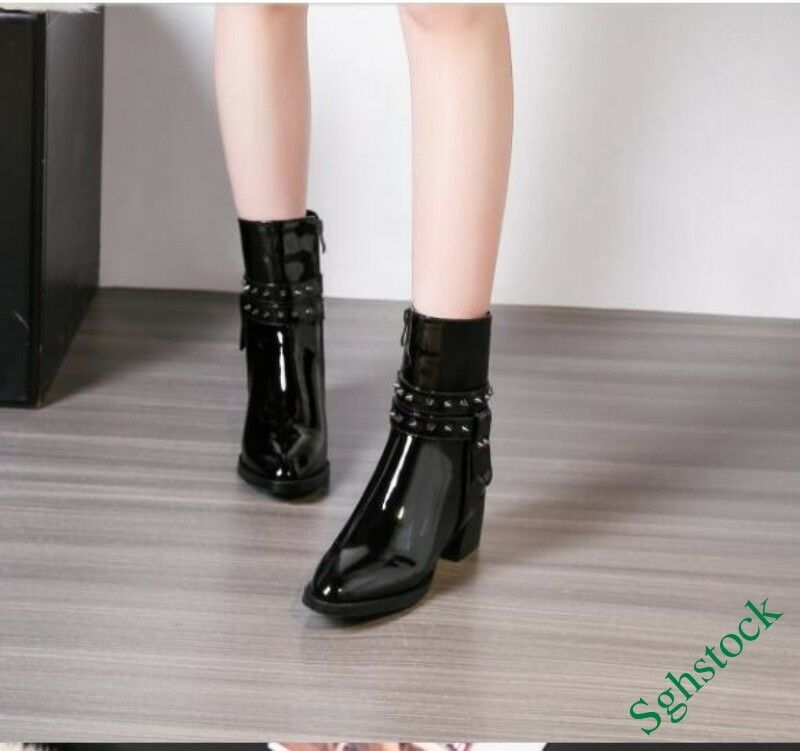 Womens Ankle Boots Patent Leather Buckle Motorcycle Block Shoes Rivet Black Warm