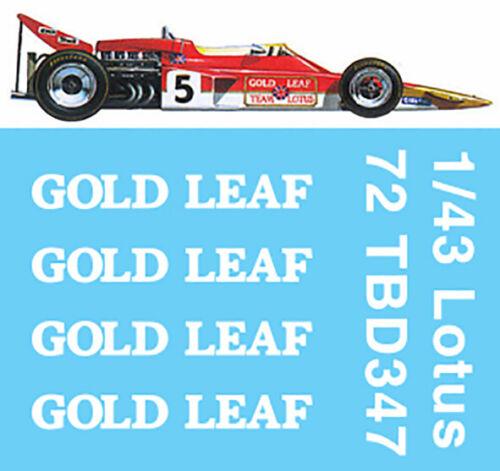 1//43  F1  Lotus 72E GOLD LEAF 1970 DECALS Jochen Rindt TB DECAL TBD347