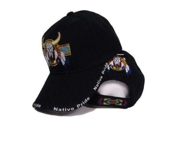 1f98b3c52 Bull Skull Buffalo Indian Native Pride Black Embroidered Ball Cap Hat
