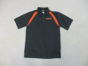 Harley-Davidson-Polo-Shirt-Adult-Large-Black-Orange-Motorcycle-Biker-Mens