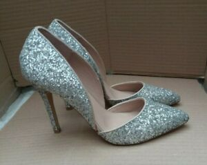 Silver Glitter Stiletto Heel Shoes