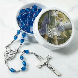 Silver-Plated-Archangel-Saint-St-Michael-Rosary-Necklace-Blue-Beads-Prayer-Case