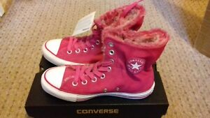 76bb8b685f7 Image is loading Converse-pink-scrunched-high-tops-size-3-5-