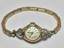 Vintage 14K Gold & Diamond Benrus Ladies Swiss Watch With GF Band