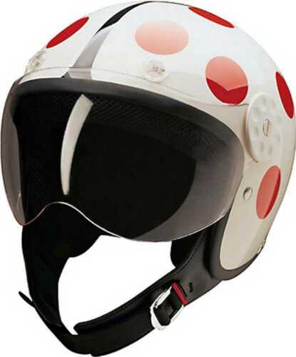 HCI Open Face Fiberglass Motorcycle Helmet White//Red Ladybug 15-230