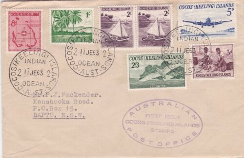 1963 definitive set of 6 on plain FDC with violet cachet ST260