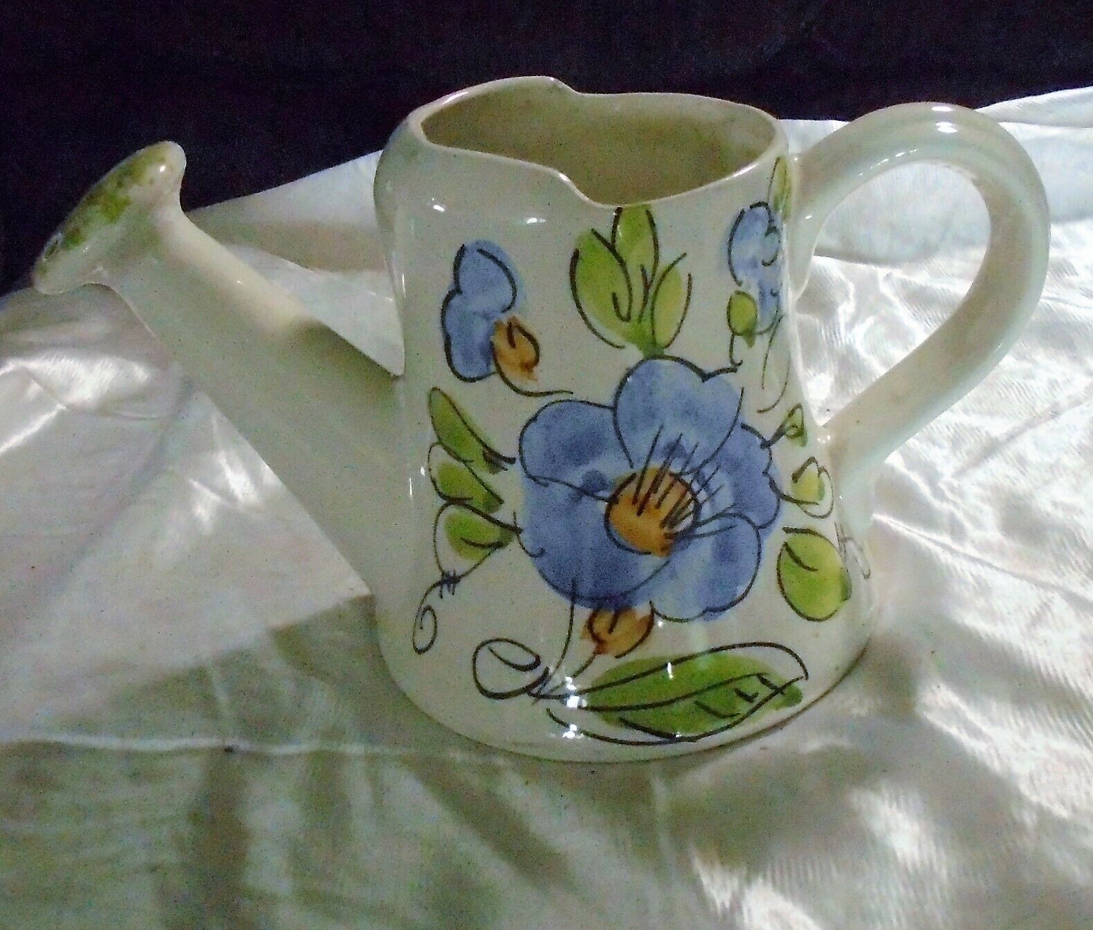 """Watering Can Ceramic Hand-Painted Italy Signed Vintage FTD 6"""" Tall"""