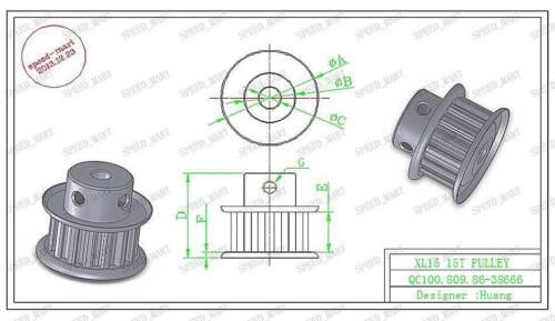 XL Type XL15T Aluminum Timing poulie 15 Dents 12 mm alésage pour axes Pas à Pas Moteur