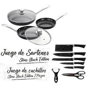 JUEGO-DE-3-SARTENES-2-TAPAS-CUCHILLOS-TIJERAS-COLOR-NEGRO-PIEDRA-APTO-HORNO