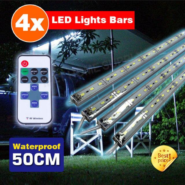 4X12V Waterproof Cool White 5630 Led Strip Lights Bars Dimmer Camping Boat Car